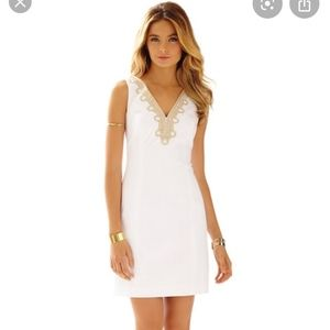 Lilly Pulitzer White V-Neck Shift Dress Size 0